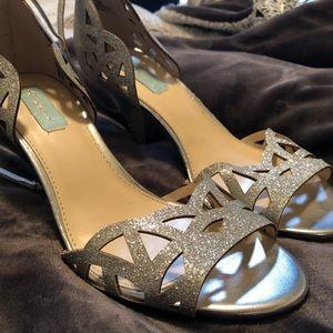Betsey Johnson Silver Glitter Heels